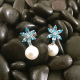 White Gold Earrings, Diamonds, Blue Topaz, Pearl Earrings, Flower, Unique, for women
