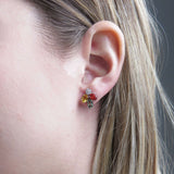 Unique, Gemstone Earrings, White Gold, Sapphires, Orange Yellow Green, Diamonds, Sale
