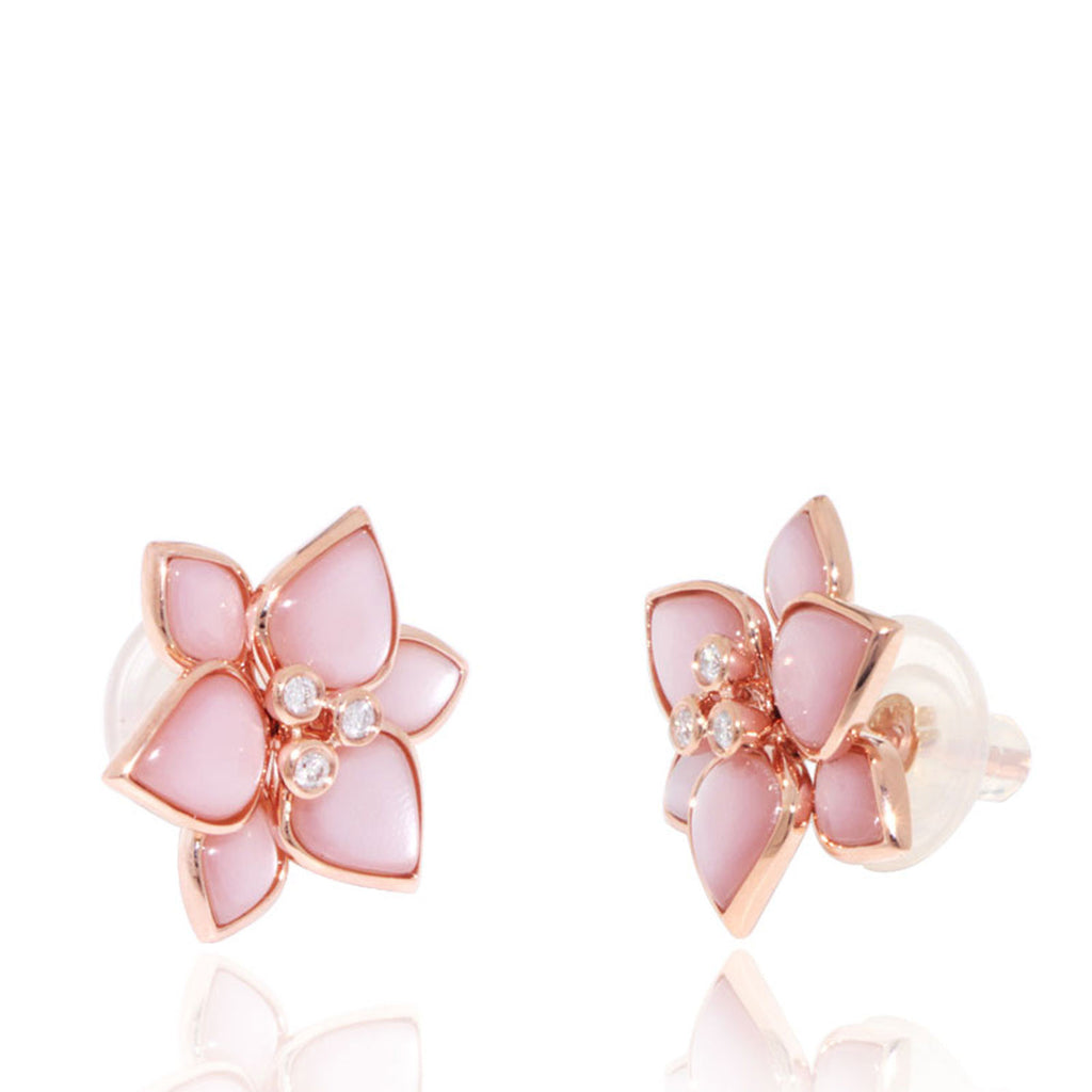 Rose Gold Earrings, Flower, Mother of Pearl, Pink, Unique, for women