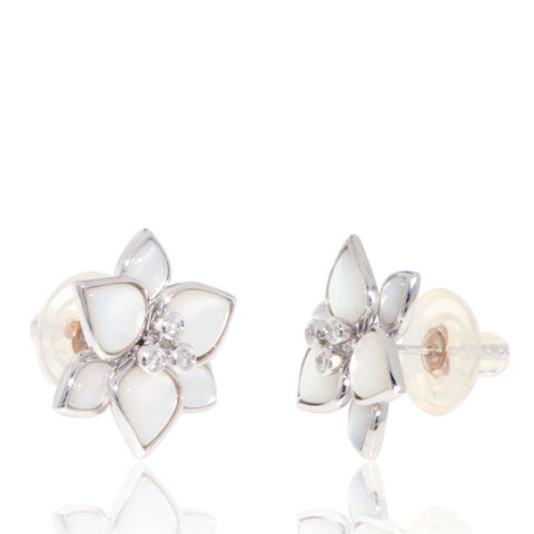 White Gold Earrings, Unique, for women, Mother of Pearl, Gemstones, Diamonds