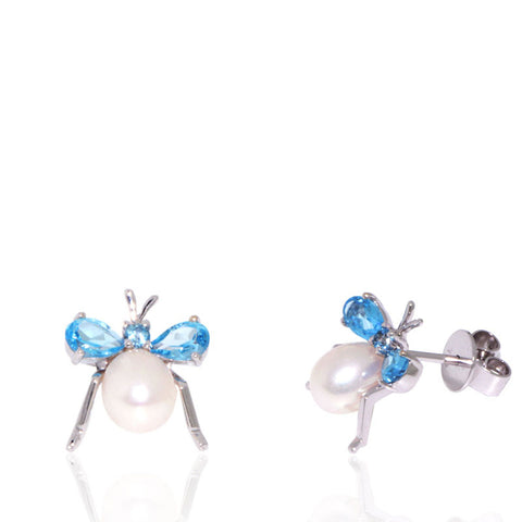 White Gold Earrings, Pearl Earrings, Fly Earrings, Blue Topaz, Freshwater Pearl, Unique, for women