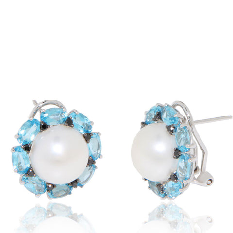 White Gold Earrings, Black Diamonds, Freshwater Pearl, Blue Topaz, Unique, for women