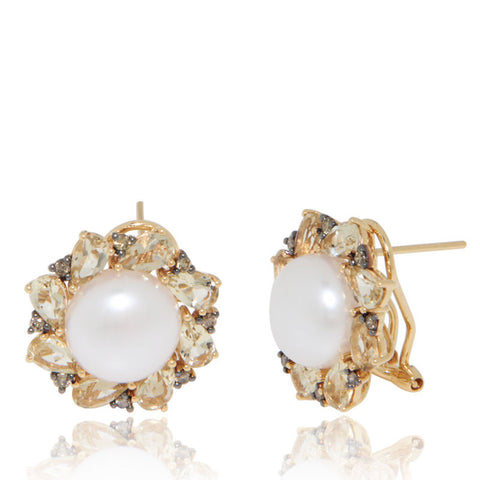 Yellow Gold Earrings, Freshwater Pearls, Lemon Quartz, Brown Diamonds, Unique, for women