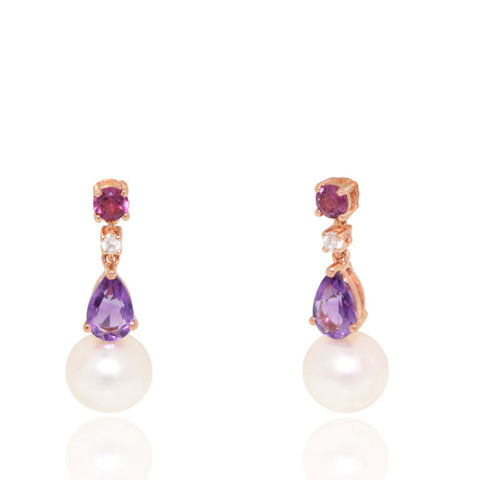 Rose Gold Earrings, Freshwater Pearl Earrings, Diamonds, Peridot, Amethyst, for women, Unique