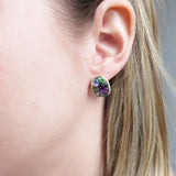 Unique, Gemstone Earrings, Cluster, Yellow Good, Diamonds, Amethyst, Sapphire, Tsavorite, Sale