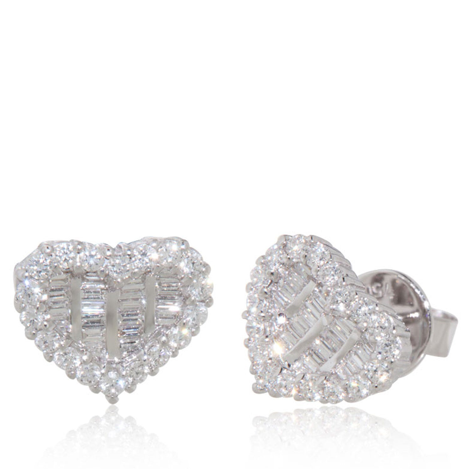 gold diamond shaped small wh pave round heart p earrings