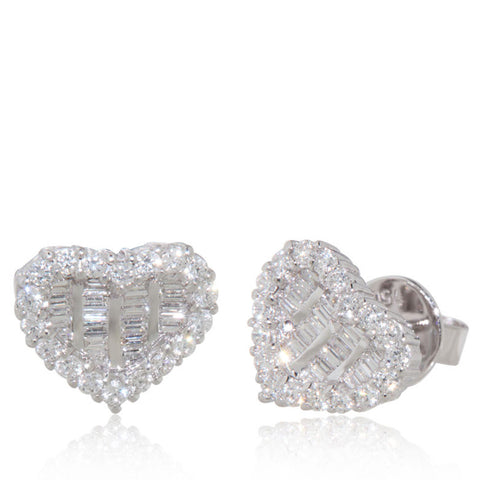 White Gold Earrings, Diamond Earrings, Diamonds, Heart shape, Unique, for women