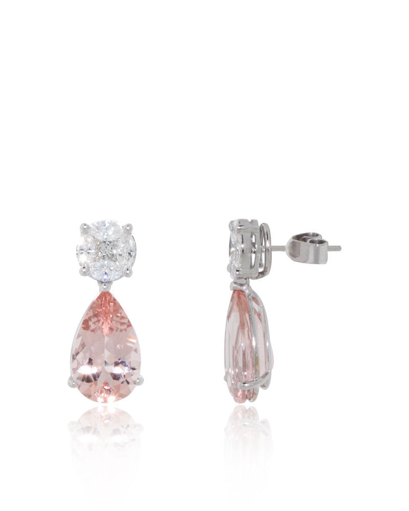 earrings stud gold rondels rose diamond morganite products halo with