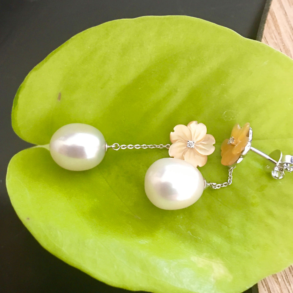 Mother Of Pearl Flower Earrings With Dangling Pearl (105mm)