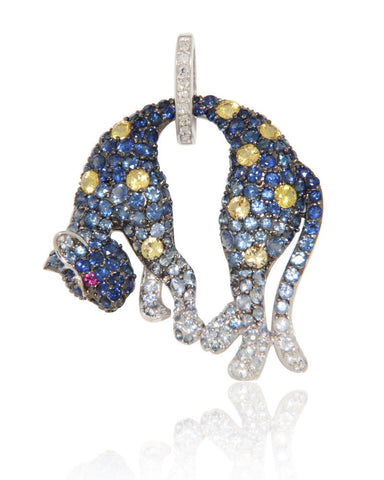 White Gold Pendant, Panther Pendant, Unique, Diamonds, Blue Sapphires, Yellow Sapphires, for women, Unique