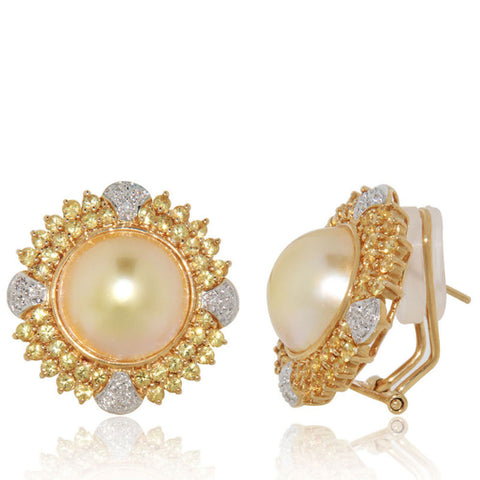Unique, Yellow Gold Earrings, Yellow Mable Pearls, Diamonds, Yellow Sapphires, sale