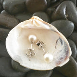 White Gold Earrings, Pearl Earrings, Unique, for women, freshwater pearl earrings