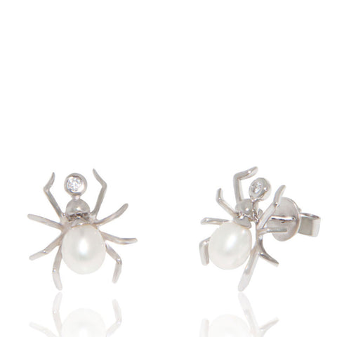 White Gold Earrings, Freshwater Pearl, Diamonds, Spider Earrings, Unique, for women