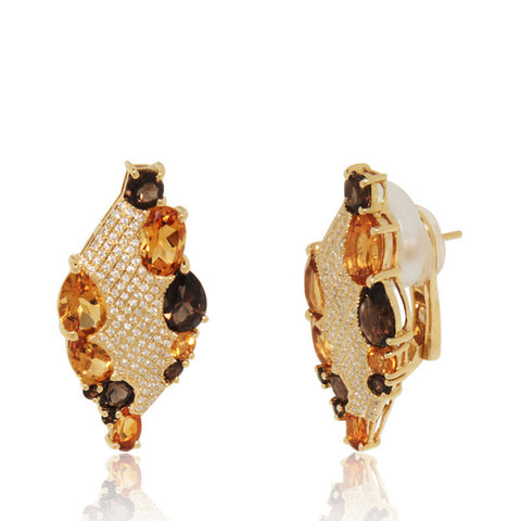 Yellow Gold Earrings, Smoky Quartz, Diamonds, Diamond Shape, Unique, for women