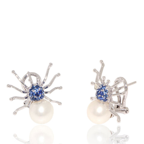 White Gold Earrings, Blue Sapphires, Spider, Pearl Earrings, for women, Unique