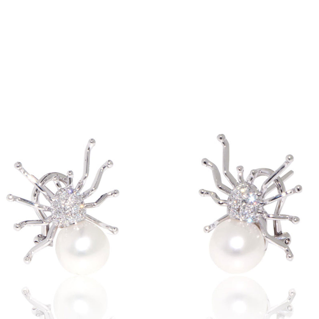 White Gold Earrings, Diamonds, Spider, Pearl Earrings, Unique, for women