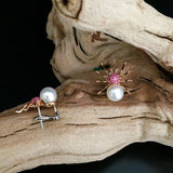 Rose Gold Earrings, Pink Sapphires, Spider Earrings, Pearl Earrings, Unique, for women