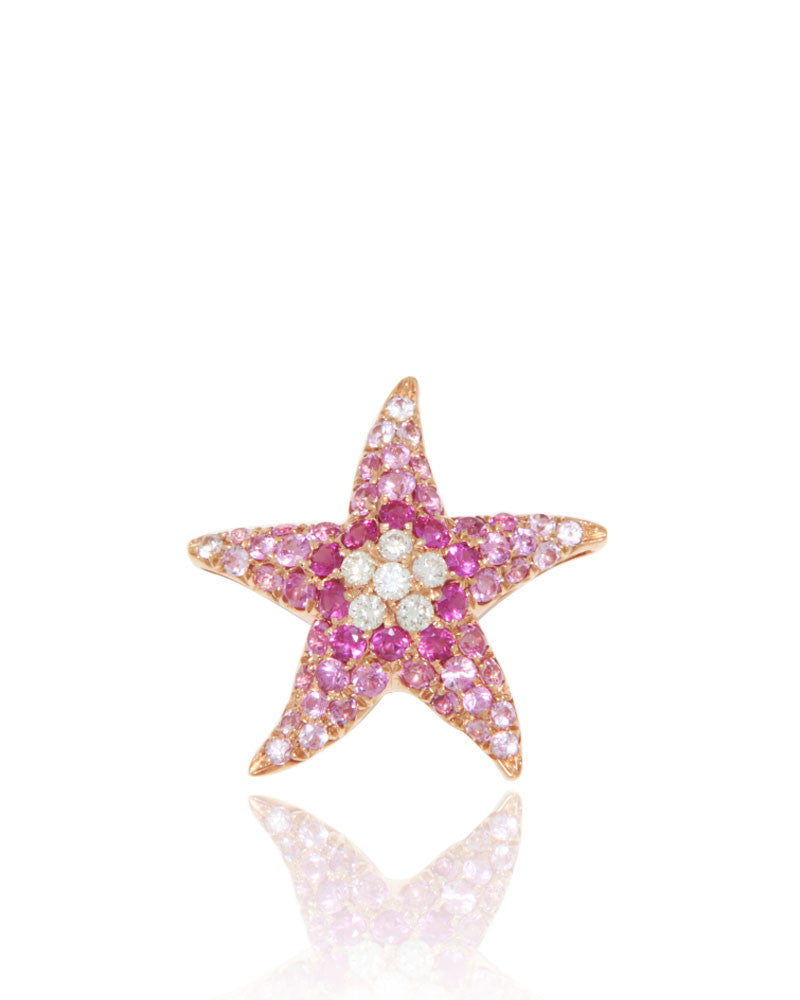 Rose Gold Pendant, Starfish Pendant, Diamonds, Gemstone, Pink Sapphires, Unique, for women,