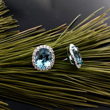White Gold Earrings, Aquamarine Studs, Diamonds, Classic Oval Studs, Unique, for women