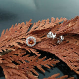 White Gold Earrings, Classic Stud,Orange Sapphires, Diamonds, Unique, for women