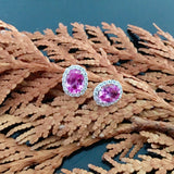 White Gold Earrings, Pink Sapphire, Classic Oval Stud, Gemstone, Unique, for women