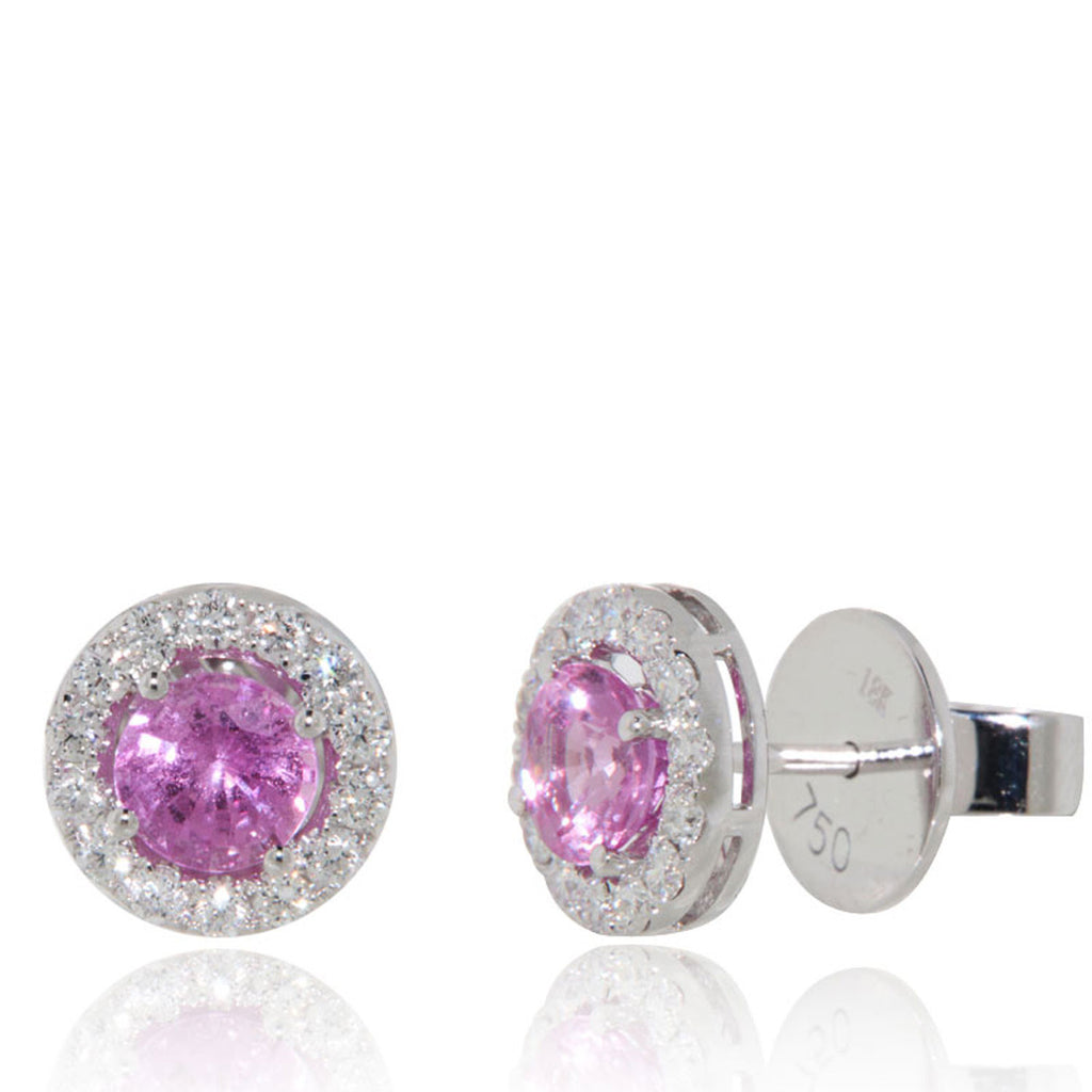 White Gold Earrings, Pink Sapphires, Diamonds, Gemstones, Classic Stud, Unique, for women
