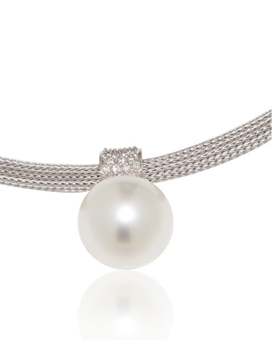 Unique White Gold Necklace, Diamonds, South Sea Pearl, for women