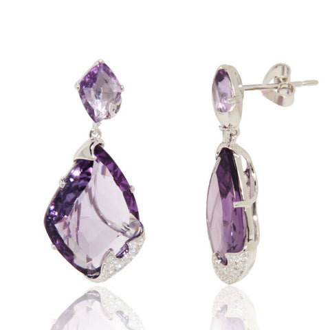 White Gold Earrings, Diamonds, Amethyst, Unique, for women, Gemstone Earrings