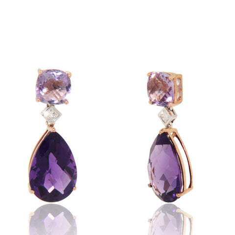 Rose Gold Earrings, Diamonds, Amethyst, Gemstones, Drop Earrings, Unique, for women