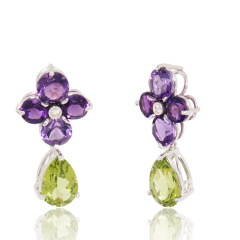 White Gold Earrings, Gemstones, Amethyst, Peridot, Diamonds, Unique, for women, Flower petals