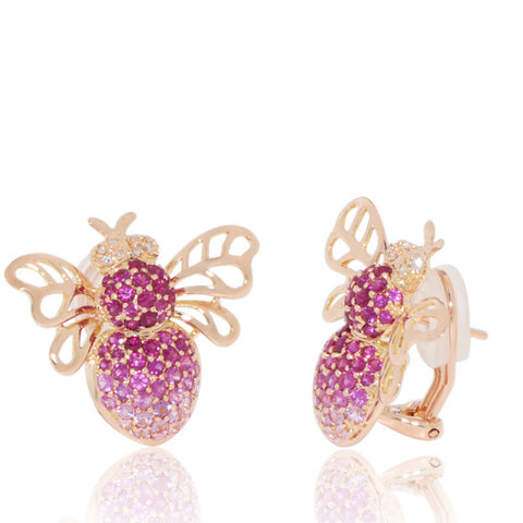 Rose Gold Earrings, Bee, Diamonds, Pink Sapphires, Gemstone, Unique, for women