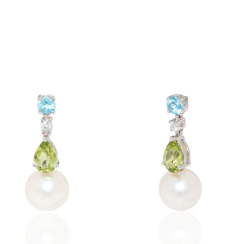 White Gold Earrings, Freshwater Pearl Earrings, Diamonds, Blue Topaz, Peridot, for women, Unique