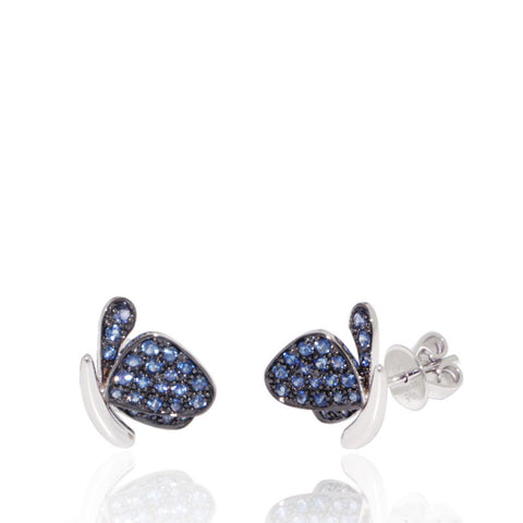 White Gold Earrings, Butterfly, Blue Sapphires, Black Rhodium, Gemstones, for women, Unique