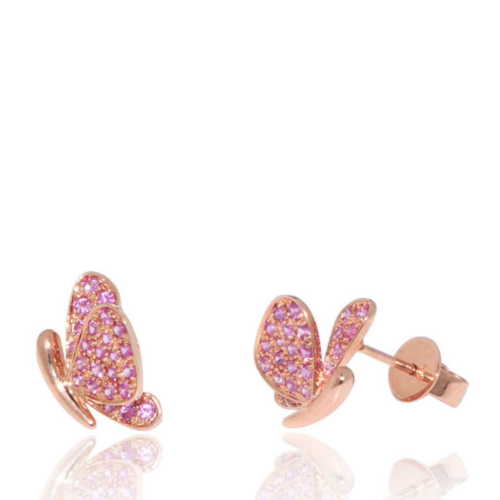Rose Gold Earrings, Pink Sapphires, Butterfly, Unique, for women, Gemstones