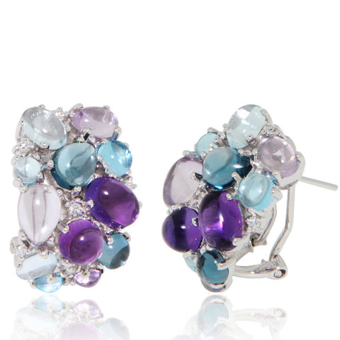 White Gold Earrings, Cabochon Cluster, Topaz, Amethyst, Diamond, Unique, for women