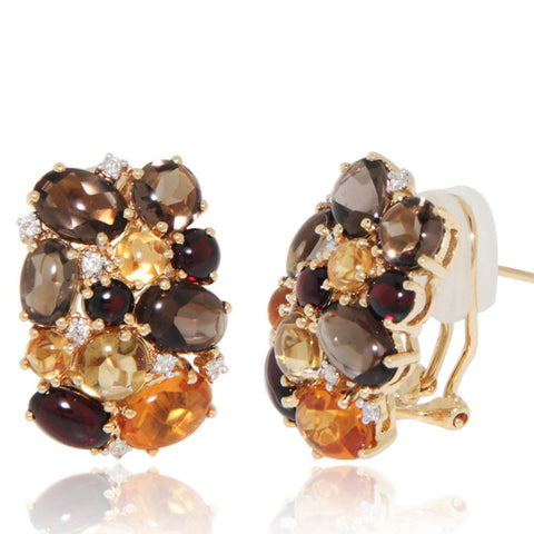 Yellow Gold Earrings, Diamonds, Smoky Quartz, Garnet, Unique, for women, Gemstone Earrings