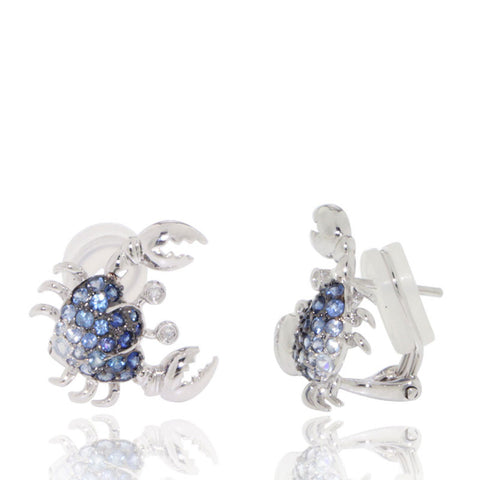 White Gold Earrings, Blue Sapphires, Crab Earrings, Diamonds, Unique, for women