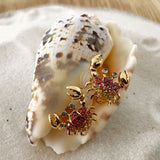 Yellow Gold Earrings, Crab Earrings, Orange Sapphires, Yellow Sapphires, Unique, for women