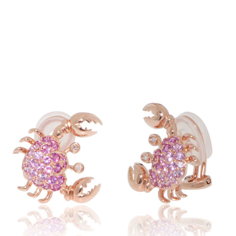 Gold Earrings, Marine Life, Crabs, Pink Sapphire Earrings, Rose Gold, 18K, sea creature, nature, under the sea,
