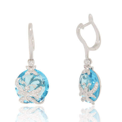 White Gold Earrings, Blue Topaz, Butterflies, Diamonds, Unique, for women