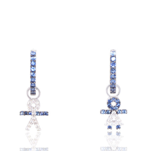 White Gold Earrings, Blue Sapphires, Hoop Earrings, for women, Unique, Gemstones