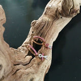 Rose Gold Earrings, Hoop, Gemstones, Pink Sapphires, for women, Unique
