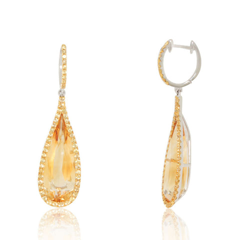 White Gold Earrings, Yellow Sapphires, Citrine, Gemstone, Unique, for women