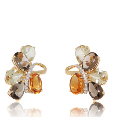 Yellow Gold Earrings, Citrine, Diamonds, Quartz, Flower, Gemstones, for women, Unique