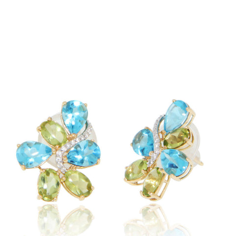 Yellow Gold Earrings, Blue Topaz, Peridot, Gemstones, Unique, for women