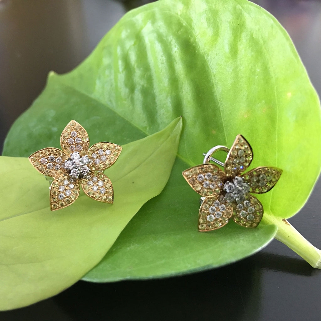 Flower Earrings In Yellow Sapphire And Diamonds New Wave Jewellery