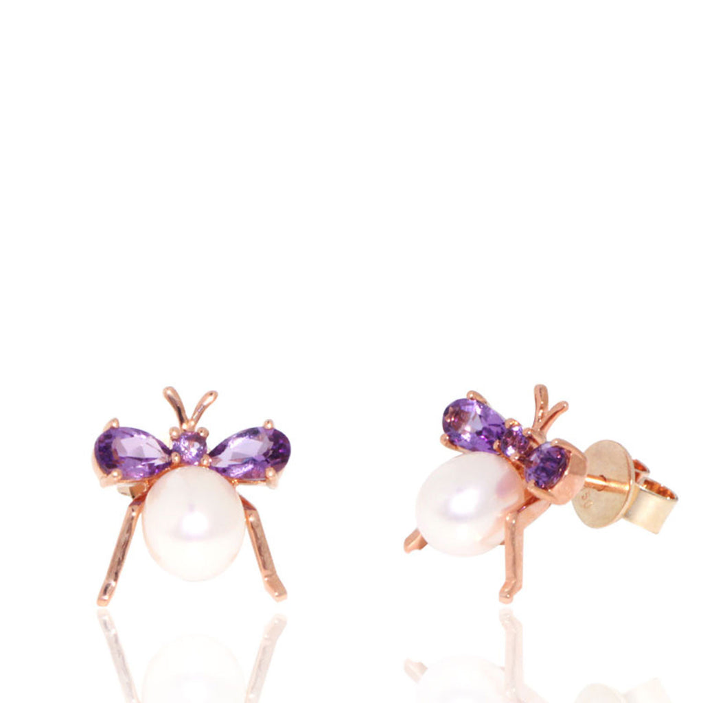 Rose Gold Earrings, Fly Earrings, Amethyst, Unique, for women, Pearl Earrings, Freshwater Pearl