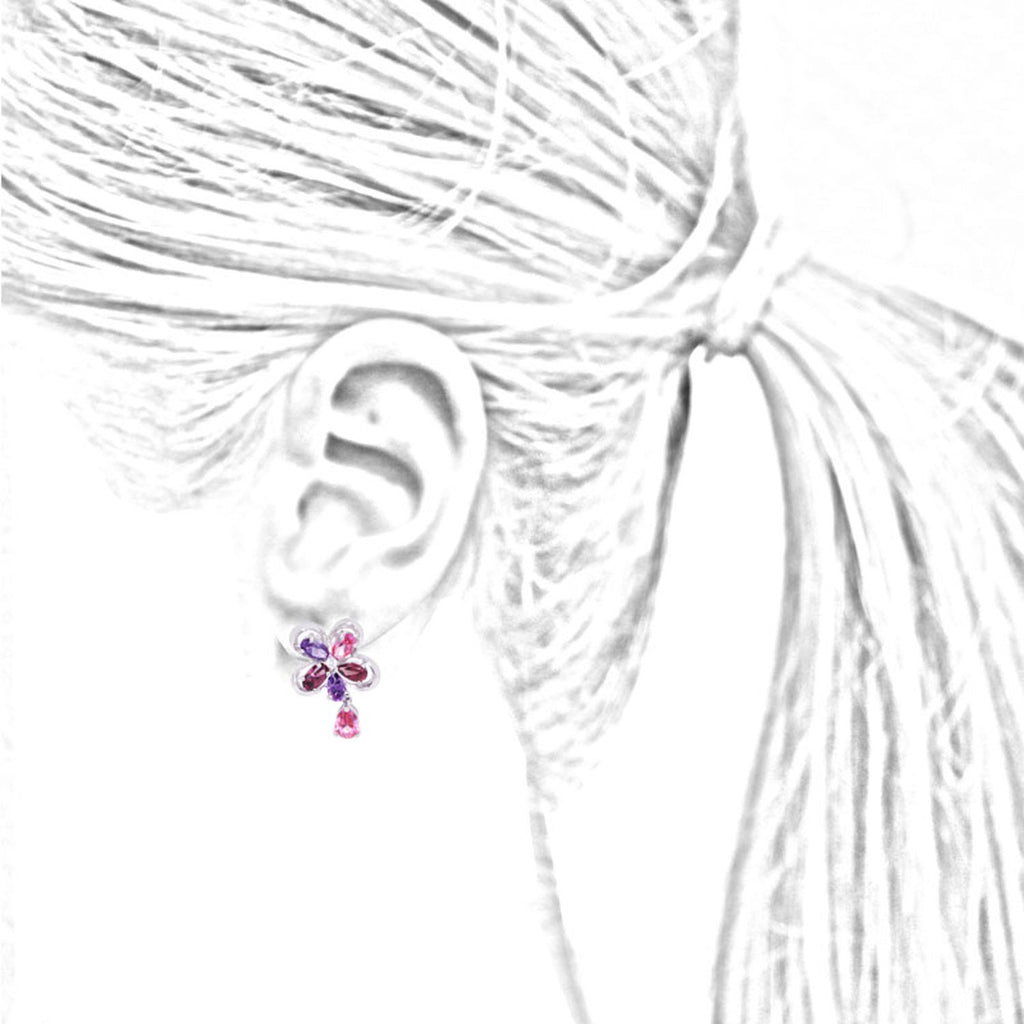 Garnet & Amethyst Flower Earrings With Pink Topaz Drops