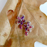 White Gold Earrings, Flower, Diamonds, Garnet, Pink Topaz, Amethyst, Unique, for women