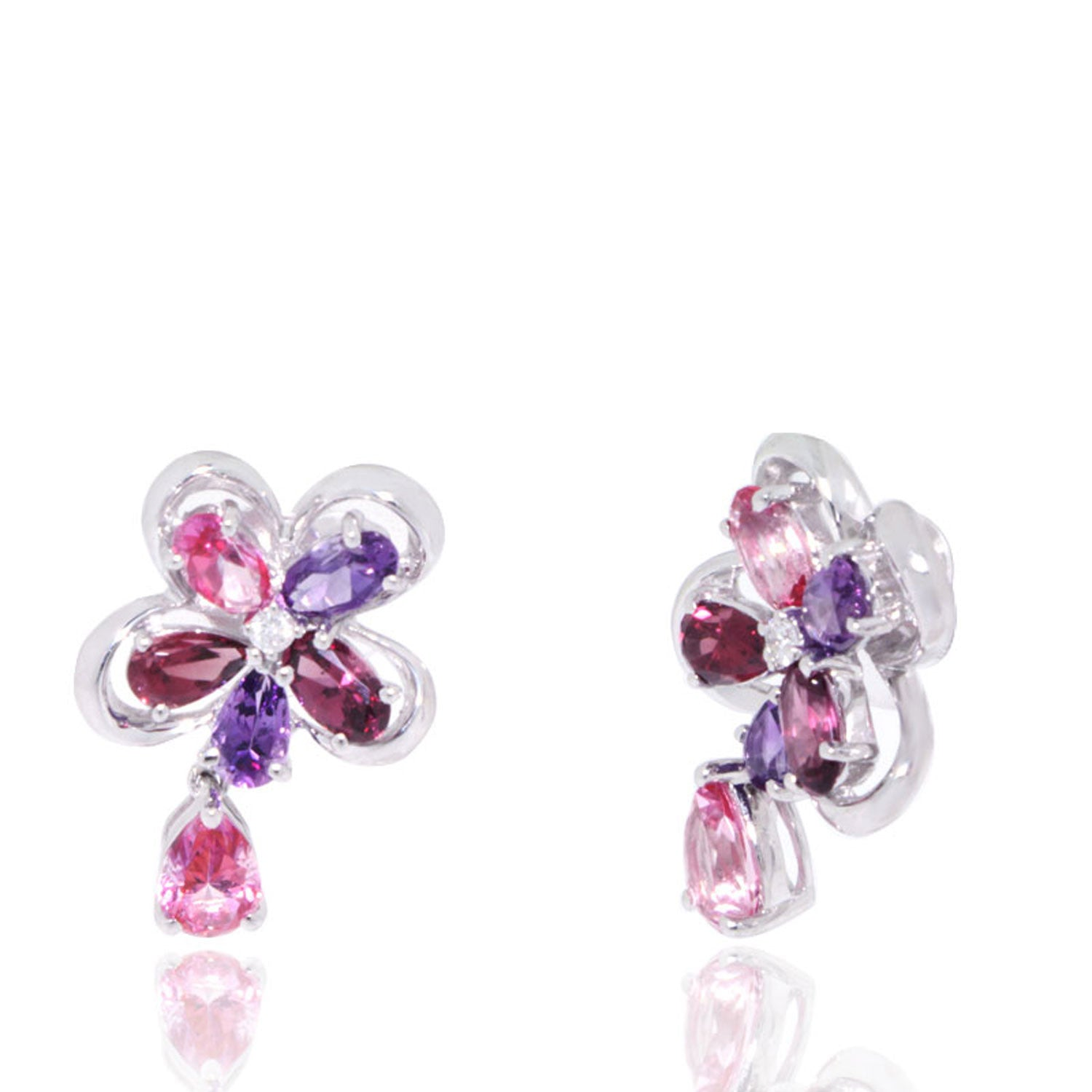 Garnet & Amethyst Flower Earrings With Pink Topaz Drops White Gold Earrings